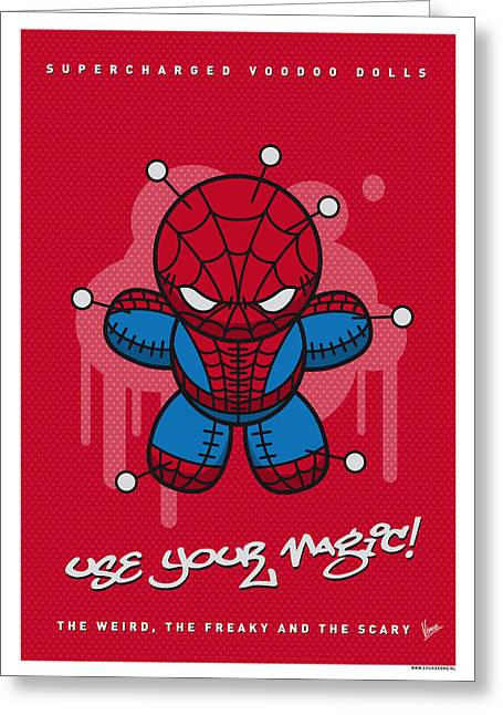 Spider-man Greeting Cards - My SUPERCHARGED VOODOO DOLLS SPIDERMAN Greeting Card by Chungkong Art