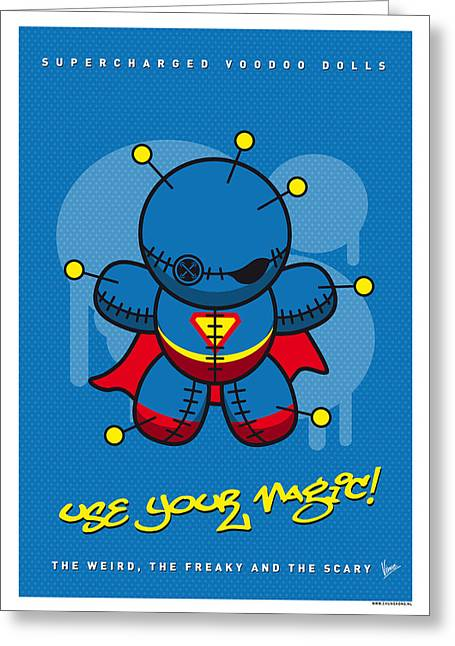 Voodoo Greeting Cards - My SUPERCHARGED VOODOO DOLLS SUPERMAN Greeting Card by Chungkong Art