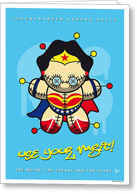Book Art Greeting Cards - My SUPERCHARGED VOODOO DOLLS WONDER WOMAN Greeting Card by Chungkong Art