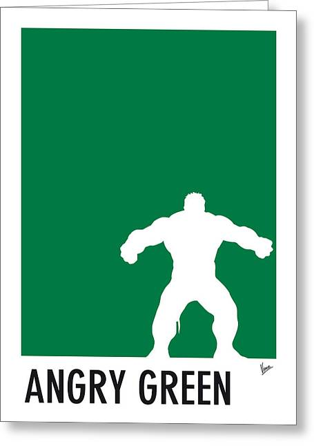 Superheroes Greeting Cards - My Superhero 01 Angry Green Minimal poster Greeting Card by Chungkong Art