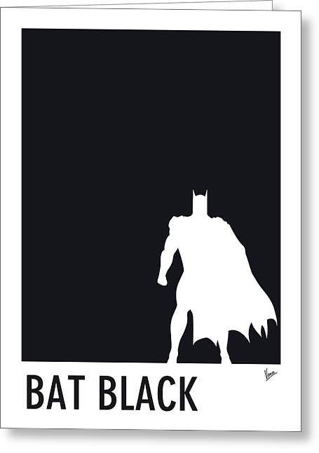 Minimalist Poster Greeting Cards - My Superhero 02 Bat Black Minimal poster Greeting Card by Chungkong Art