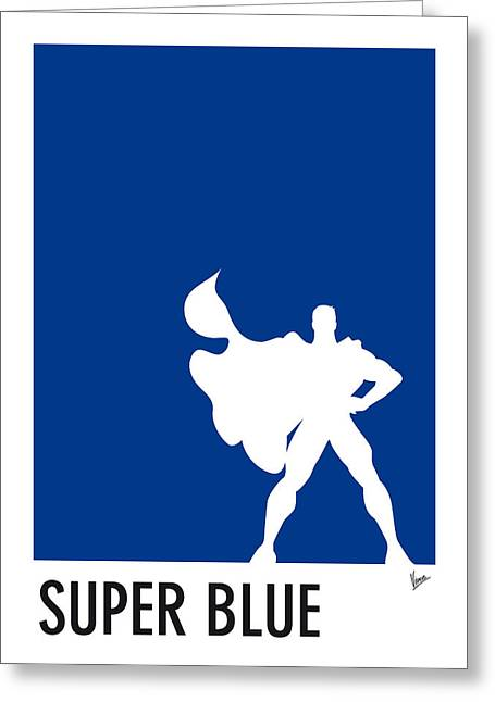 Minimalist Poster Greeting Cards - My Superhero 03 Super Blue Minimal poster Greeting Card by Chungkong Art