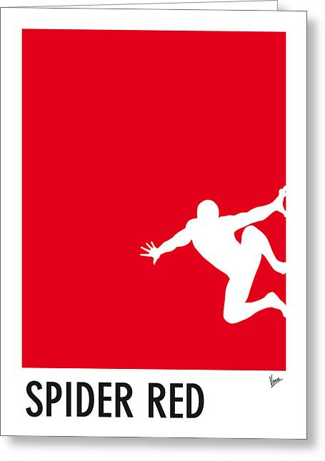 Blue Art Greeting Cards - My Superhero 04 Spider Red Minimal poster Greeting Card by Chungkong Art