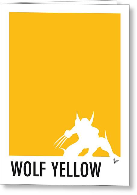 Blue Art Greeting Cards - My Superhero 05 Wolf Yellow Minimal poster Greeting Card by Chungkong Art