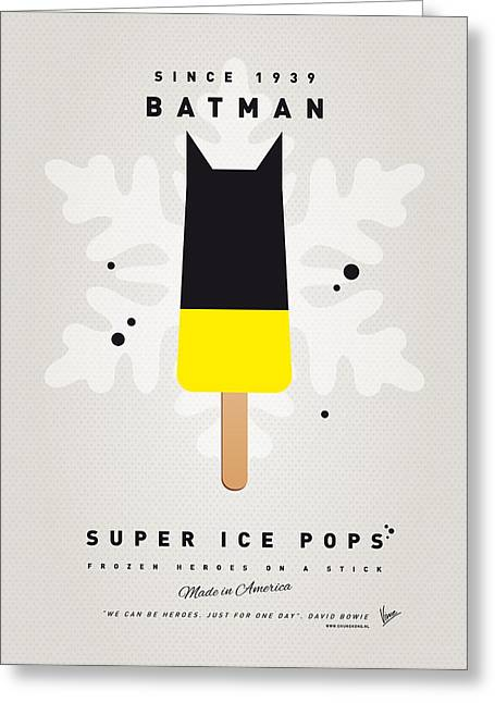 Minimalist Greeting Cards - My SUPERHERO ICE POP - BATMAN Greeting Card by Chungkong Art