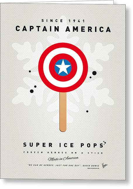 Minimalism Art Greeting Cards - My SUPERHERO ICE POP - Captain America Greeting Card by Chungkong Art