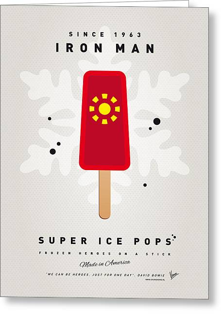 Power Greeting Cards - My SUPERHERO ICE POP - Iron Man Greeting Card by Chungkong Art