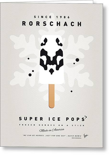 Superheroes Greeting Cards - My SUPERHERO ICE POP - Rorschach Greeting Card by Chungkong Art