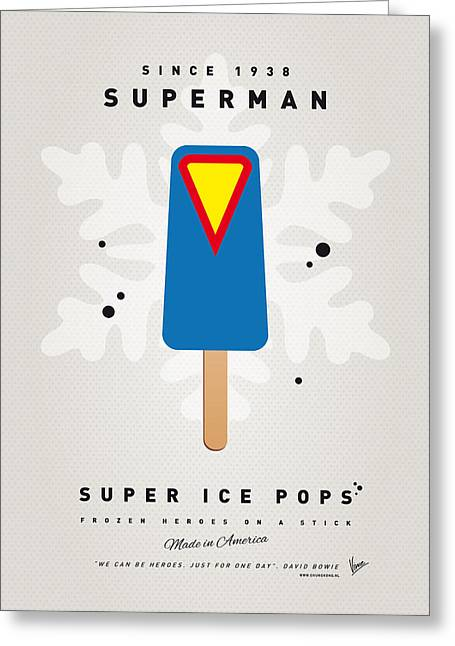 Superheroes Greeting Cards - My SUPERHERO ICE POP - Superman Greeting Card by Chungkong Art