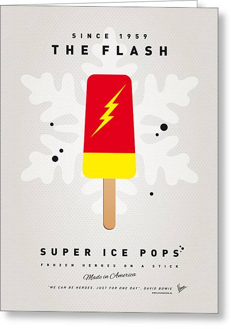 Superheroes Greeting Cards - My SUPERHERO ICE POP - The Flash Greeting Card by Chungkong Art