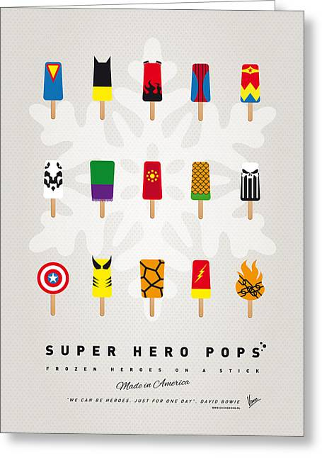 Minimalist Poster Greeting Cards - My SUPERHERO ICE POP UNIVERS Greeting Card by Chungkong Art