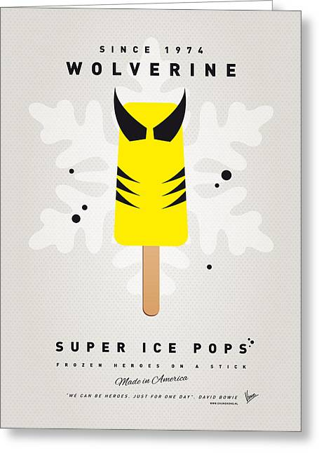Superheroes Greeting Cards - My SUPERHERO ICE POP - Wolverine Greeting Card by Chungkong Art