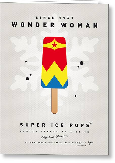 Superheroes Greeting Cards - My SUPERHERO ICE POP - Wonder Woman Greeting Card by Chungkong Art