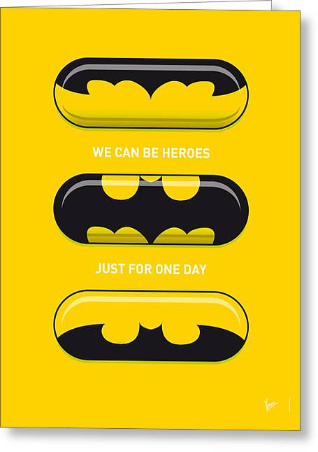 Iron Man Greeting Cards - My SUPERHERO PILLS - Batman Greeting Card by Chungkong Art