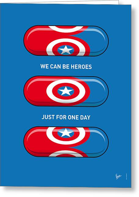 Iron Man Greeting Cards - My SUPERHERO PILLS - Captain America Greeting Card by Chungkong Art