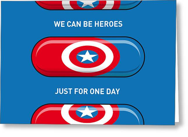 My SUPERHERO PILLS - Captain America Greeting Card by Chungkong Art
