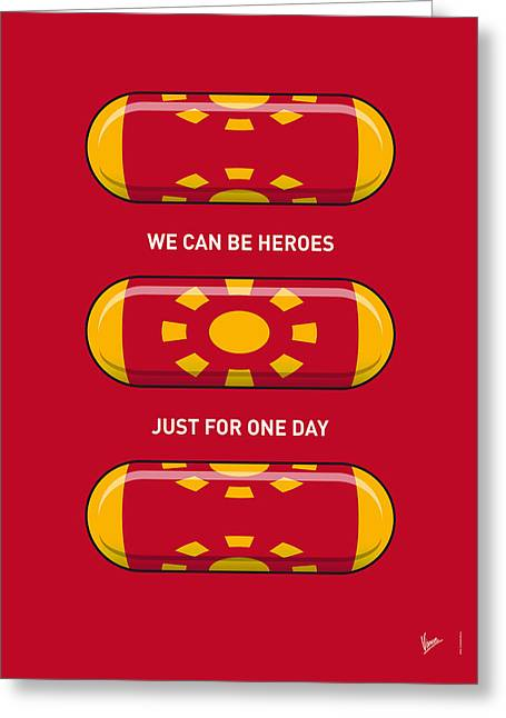 Batman Greeting Cards - My SUPERHERO PILLS - Iron Man Greeting Card by Chungkong Art