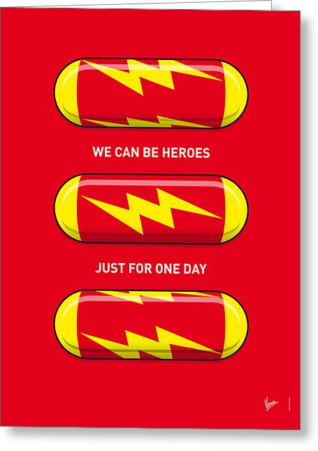 The Thing Greeting Cards - My SUPERHERO PILLS - The Flash Greeting Card by Chungkong Art
