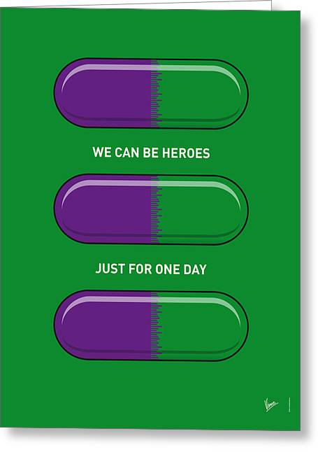 Iron Man Greeting Cards - My SUPERHERO PILLS - The Hulk Greeting Card by Chungkong Art