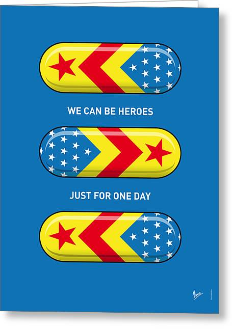 The Thing Greeting Cards - My SUPERHERO PILLS - Wonder woman Greeting Card by Chungkong Art