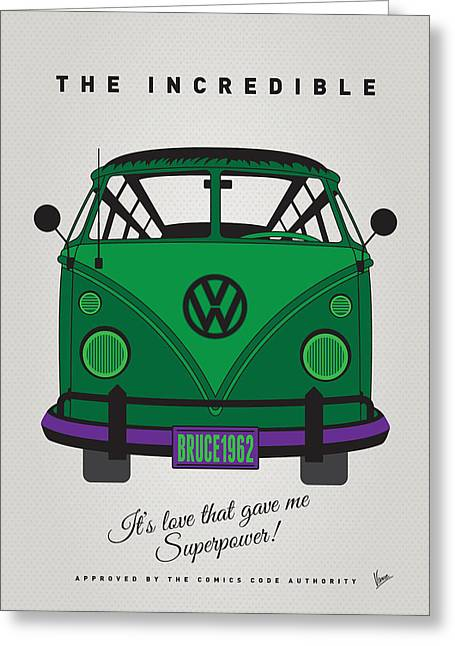Captain America Greeting Cards - MY SUPERHERO-VW-T1-Hulk Greeting Card by Chungkong Art