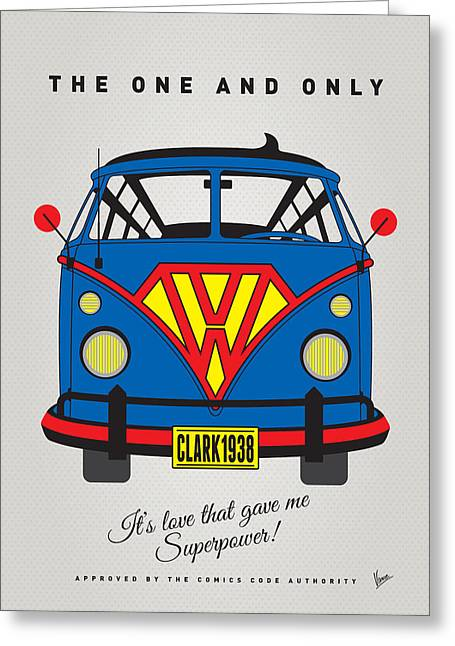 Batman Greeting Cards - MY SUPERHERO-VW-T1-superman Greeting Card by Chungkong Art