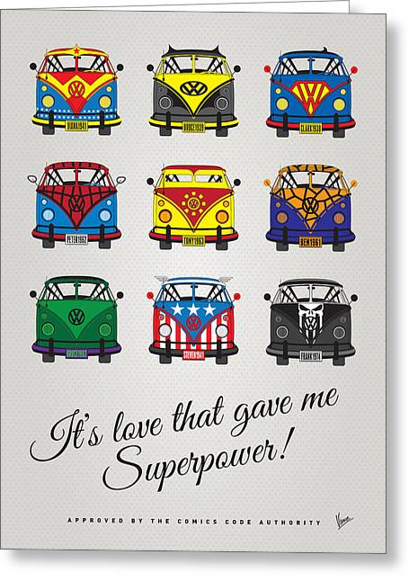 Bus Greeting Cards - MY SUPERHERO-VW-T1-universe Greeting Card by Chungkong Art