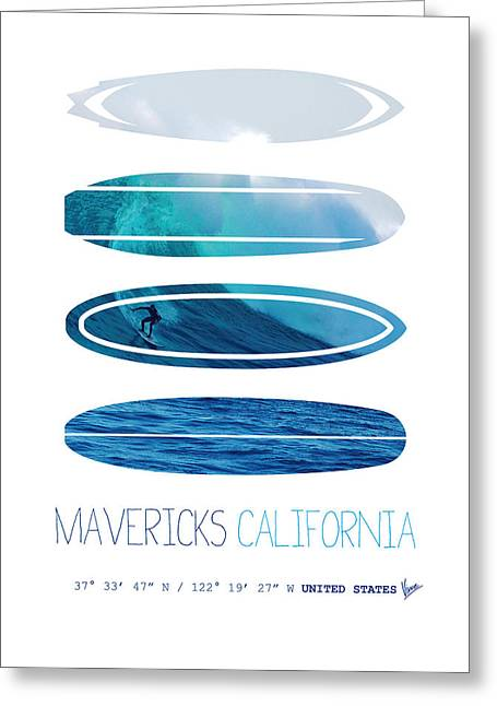 Surfer Greeting Cards - My Surfspots poster-2-Mavericks-California Greeting Card by Chungkong Art