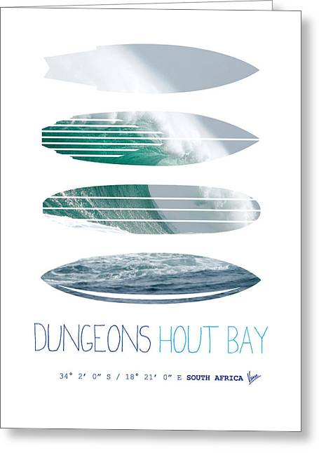 Surfing Art Greeting Cards - My Surfspots poster-4-Dungeons-Cape-Town-South-Africa Greeting Card by Chungkong Art