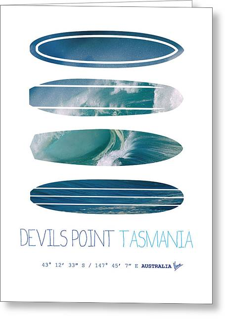 Surfing Art Greeting Cards - My Surfspots poster-5-Devils-Point-Tasmania Greeting Card by Chungkong Art