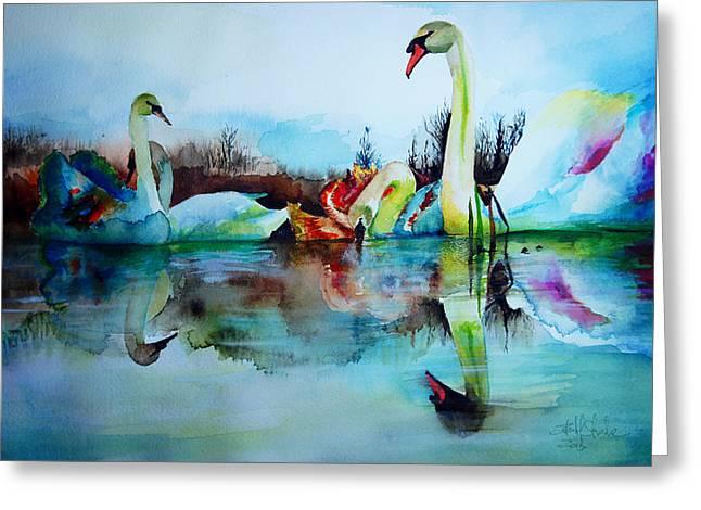 Lake Artwork Greeting Cards - My Swam Lake Greeting Card by Isabel Salvador