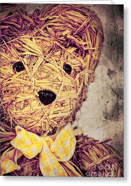 Child Toy Mixed Media Greeting Cards - My Teddy Bear Greeting Card by Angela Doelling AD DESIGN Photo and PhotoArt