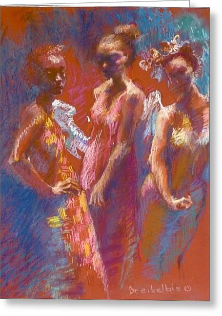 Friend Pastels Greeting Cards - My Three Angels Greeting Card by Ellen Dreibelbis