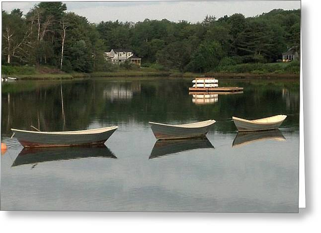 Maine Icons Greeting Cards - - Three Boats - Greeting Card by Brian S Boucher