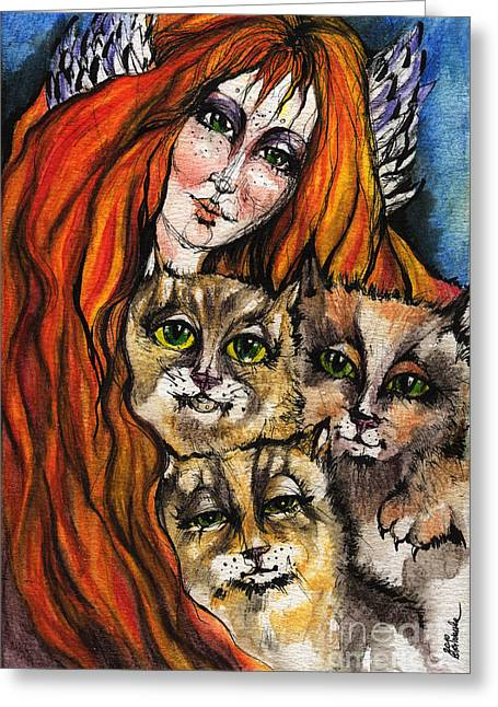 Angel Blues Drawings Greeting Cards - My Three Cats Greeting Card by Angel  Tarantella