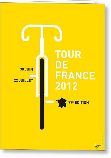 Printed Greeting Cards - MY Tour de France 2012 minimal poster Greeting Card by Chungkong Art