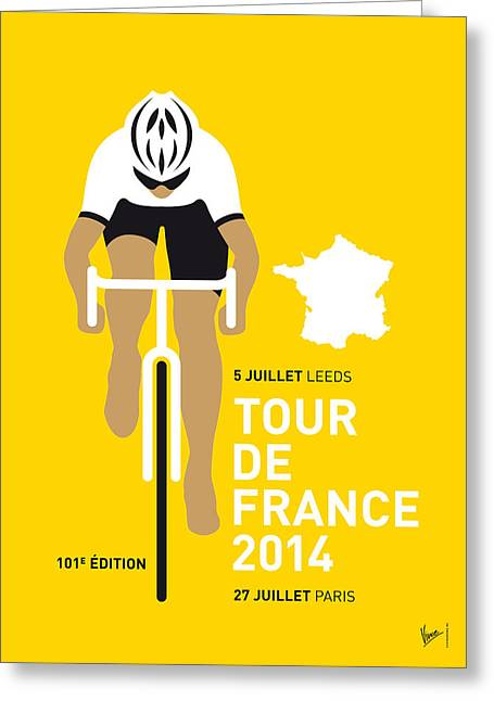 Simple Digital Greeting Cards - My Tour De France Minimal Poster 2014 Greeting Card by Chungkong Art