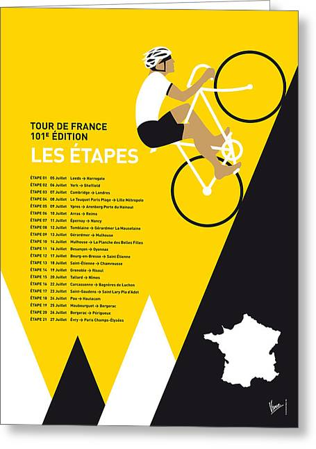 Wiggins Greeting Cards - My Tour De France Minimal Poster 2014-etapes Greeting Card by Chungkong Art