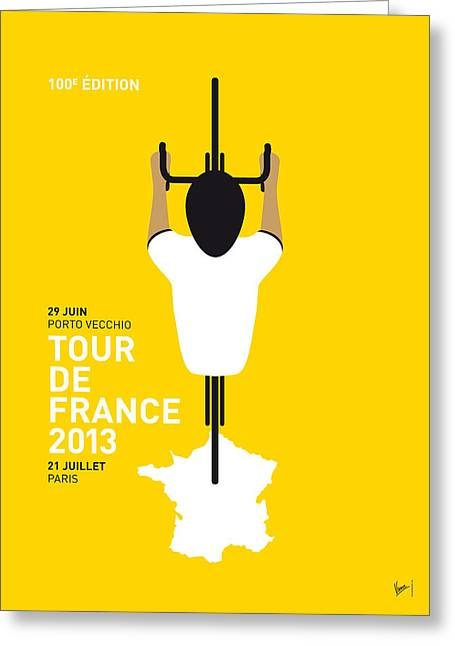 Bicycling Greeting Cards - My Tour De France Minimal Poster Greeting Card by Chungkong Art