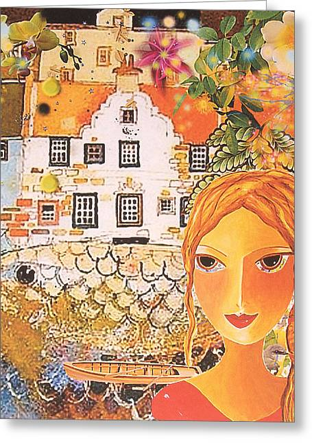 Town Mixed Media Greeting Cards - My Town Greeting Card by Luba Cohen