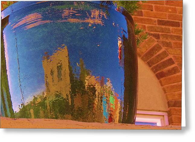 My Town Reflected In A Blue Pot Greeting Card by Feva  Fotos