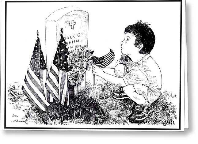 Flag Day Drawings Greeting Cards - My Tribute Greeting Card by Joseph Juvenal