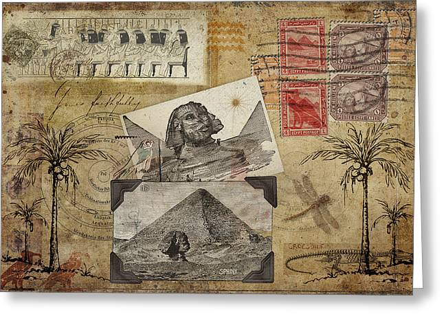 Mysterious Digital Greeting Cards - My Trip to Egypt 1914 Greeting Card by Carol Leigh
