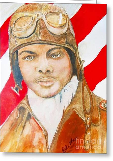Booker T. Washington Greeting Cards - My Tuskegee Airman Greeting Card by E La Rue