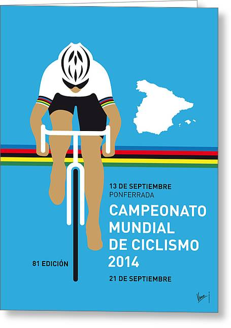 Wiggins Greeting Cards - MY UCI Road World Championships MINIMAL POSTER 2014 Greeting Card by Chungkong Art