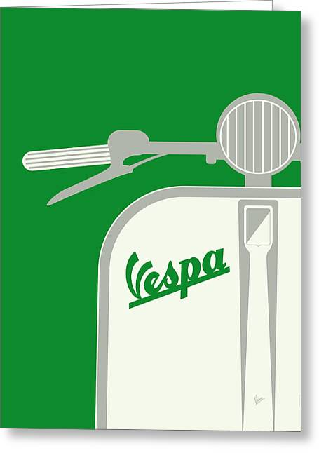 My Vespa - From Italy With Love - Green Greeting Card by Chungkong Art