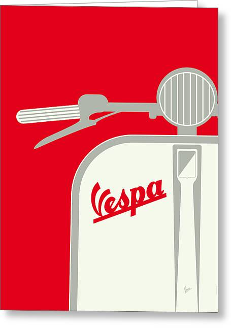 My Vespa - From Italy With Love - Red Greeting Card by Chungkong Art