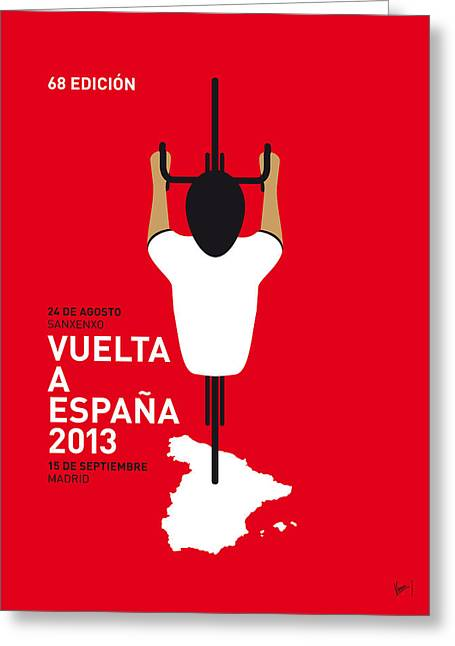 Cycles Greeting Cards - My Vuelta A Espana Minimal Poster - 2013 Greeting Card by Chungkong Art