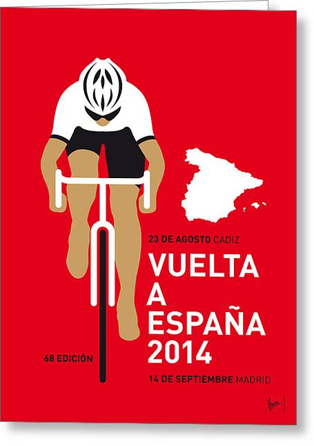 Cycles Greeting Cards - My Vuelta A Espana Minimal Poster 2014 Greeting Card by Chungkong Art