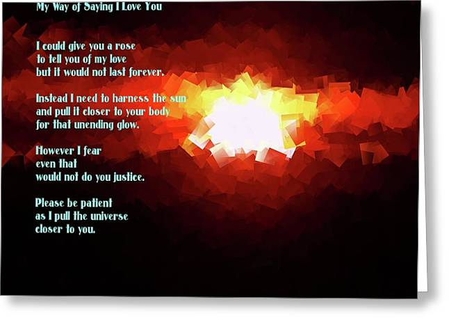 My Way Of Saying I Love You  Greeting Card by Jeff Swan